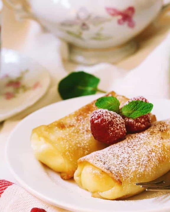 Cheese Blintzes on a plate