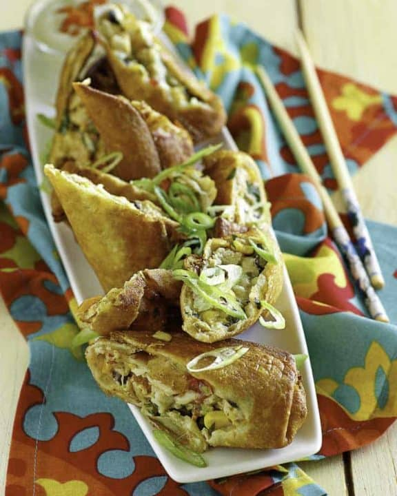 Southwest Egg rolls on a plate.
