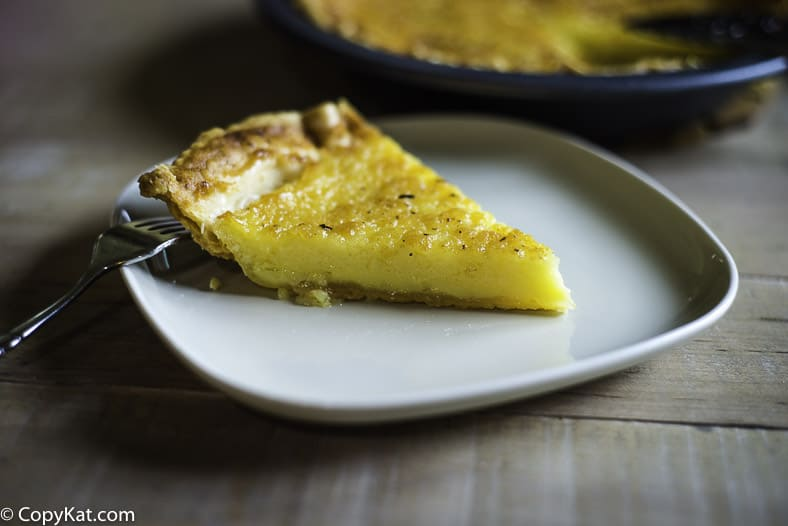 A slice of buttermilk pie.