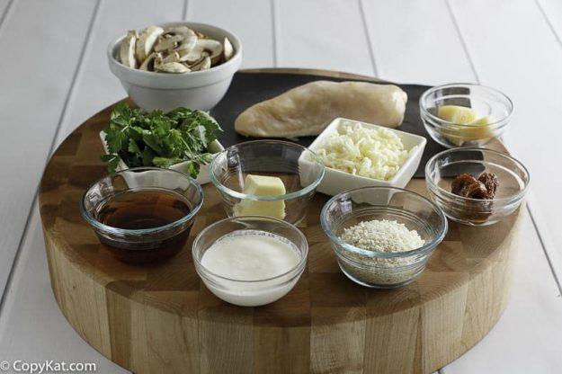 Ingredients for homemade Olive Garden Stuffed Chicken Marsala.