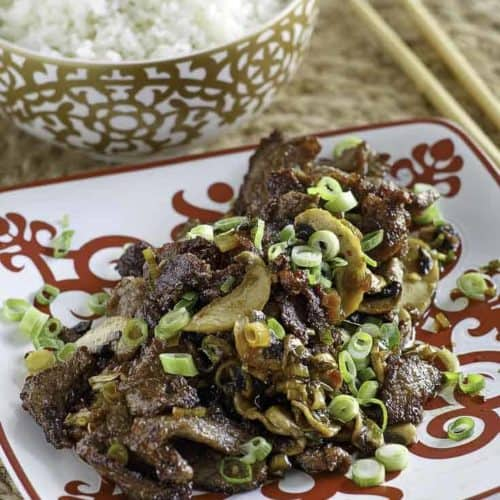 A plate of Mongolian beef and a bowl of rice.