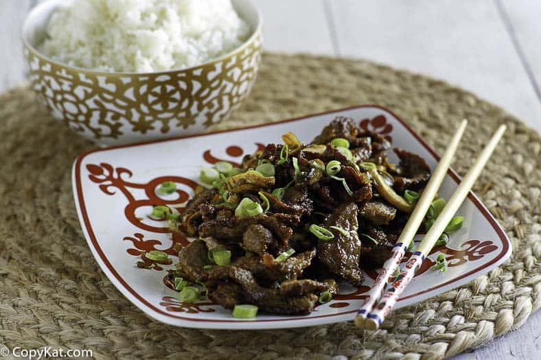 A plate of homemade Mongolian Beef.