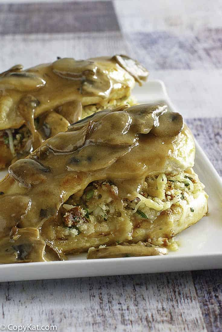 Copycat Olive Garden Stuffed Chicken Marsala on a plate.