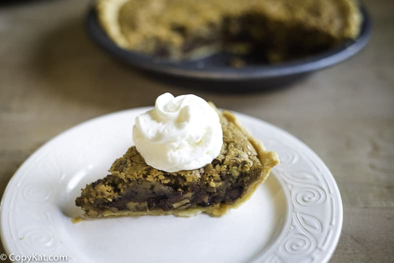 A pie with chocolate chips baked into the pie.