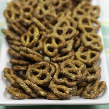 Ranch pretzels on a platter