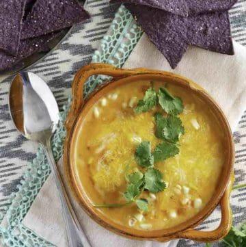 Bowl of white corn tortilla soup