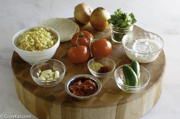 White corn tortilla soup ingredients.