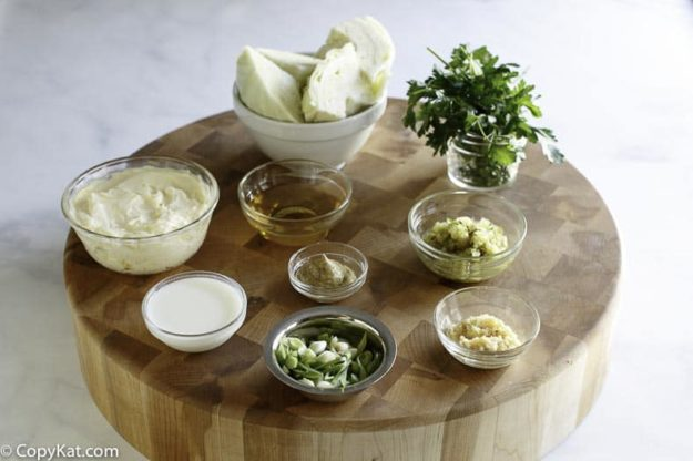 Ingredients for Houston's coleslaw: cabbage, parsley, mustard, vinegar, and more.