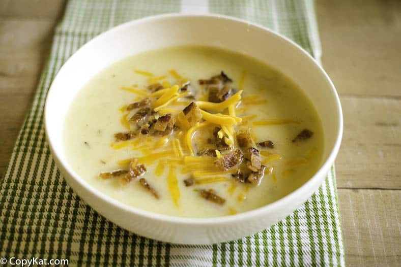 Bowl of creamy country potato soup just like La Madeleine.