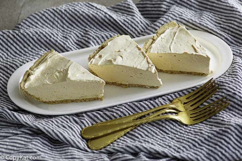 Three slices of creamy kool aid pie.