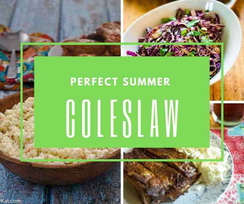 3 different coleslaw recipes are pictured.