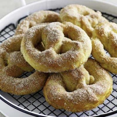 A tray of homemade soft pretzels