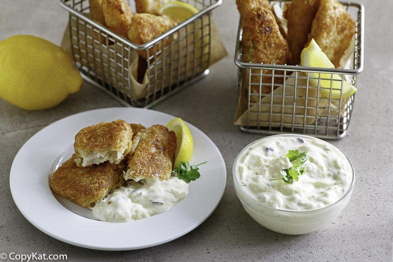 a plate of fried fish with homemade tartar sauce