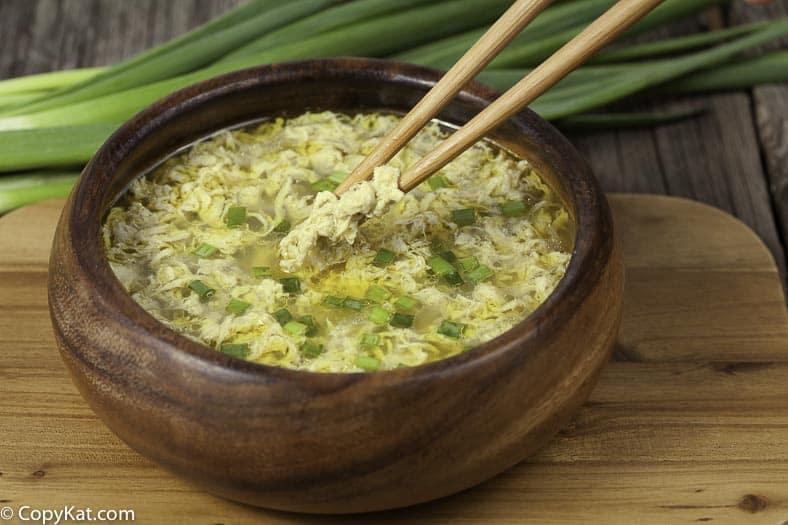 a bowl of homemade egg drop soup