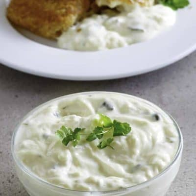 creamy tartar sauce recipe in a small bowl