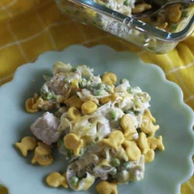 A tuna casserole, and a plate of tuna casserole