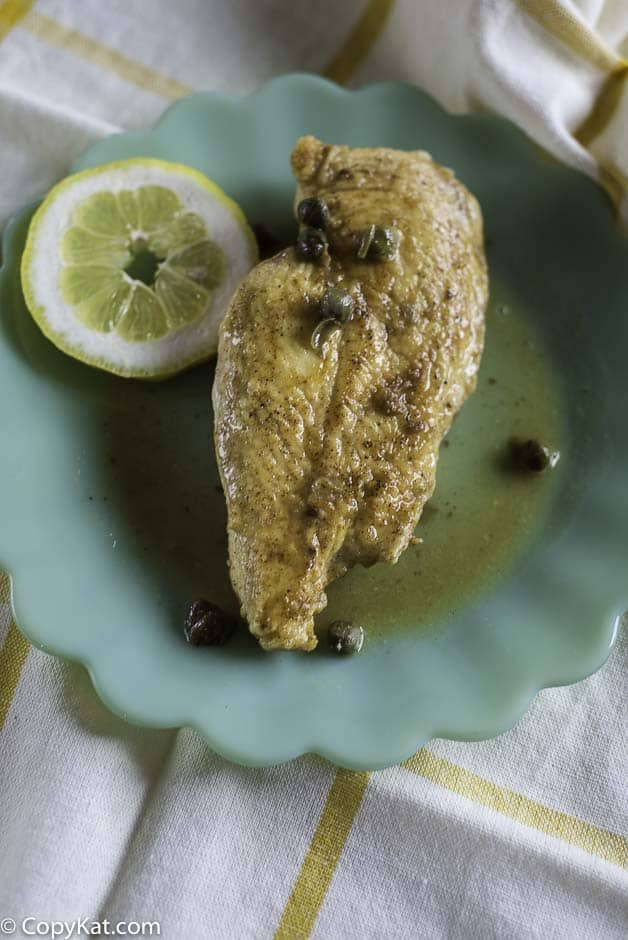 Grilled chicken with a lemon butter caper sauce