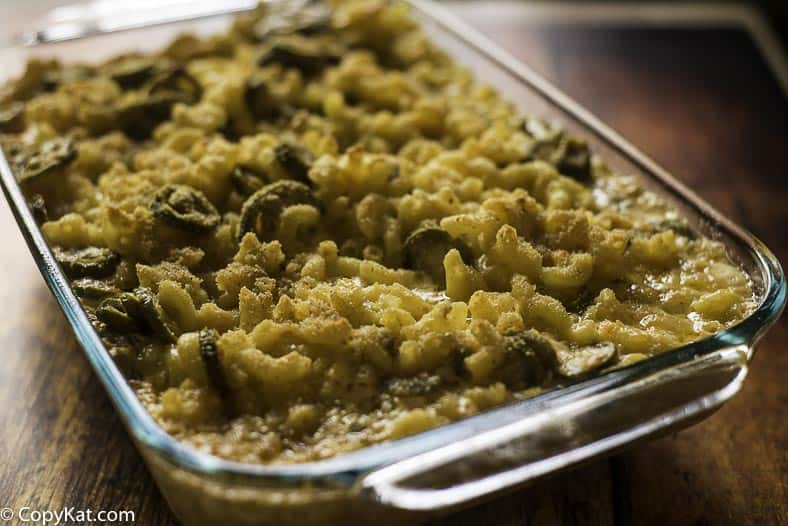 Baked Jalapeno Macaroni and cheese in a pan