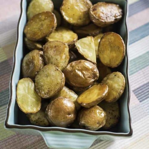 A dish of roasted new potatoes