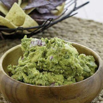 A bowl of homemade Chipotle guacamole