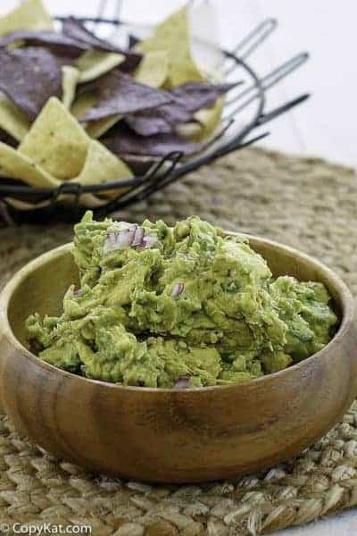 A bowl of homemade Chipotle guacamole
