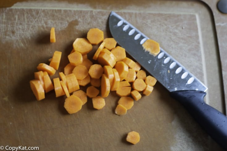 chopped carrots on a cutting board