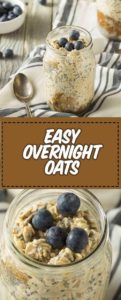 Healthy Homemade Overnight Oats Oatmeal with Chia and Peanut Butter