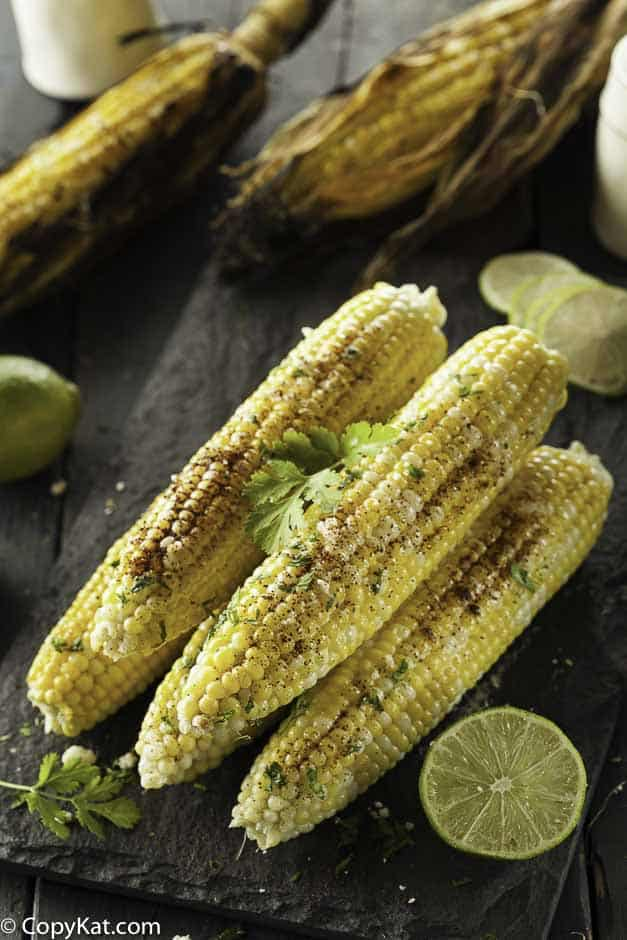 corn that was grilled, topped with seasoned salt and lime juice