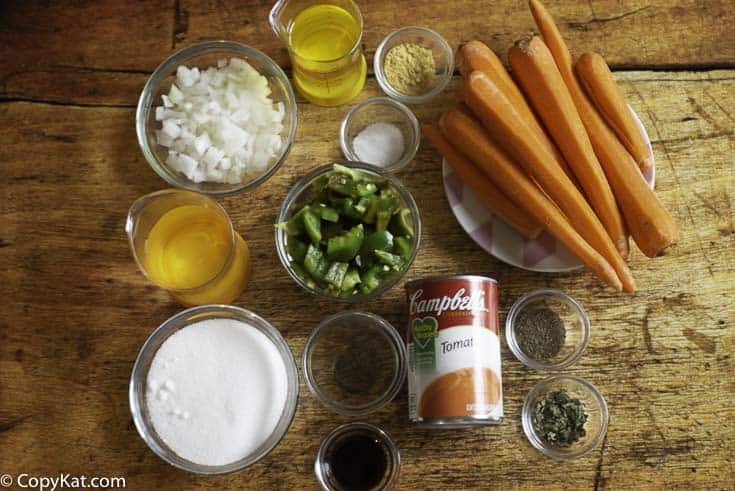 ingredients to make copper penny salad, carrots, onions, tomato soup and more