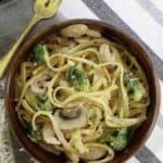 a bowl of broccoli pasta