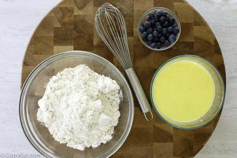pancake dry ingredients, wet ingredients, and blueberries