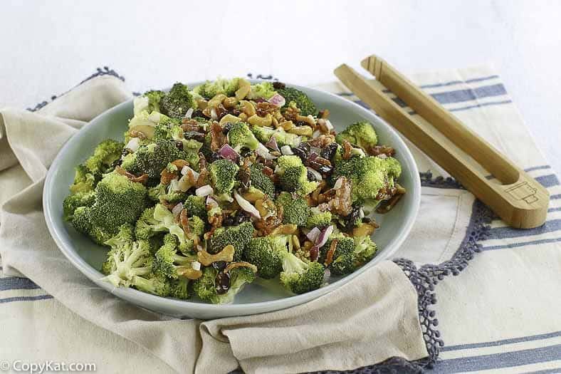 a bowl of sweet broccoli salad