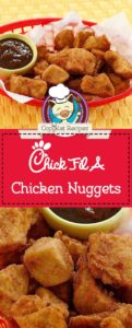 Collage of homemade copycat Chick Fil A chicken nuggets photos.