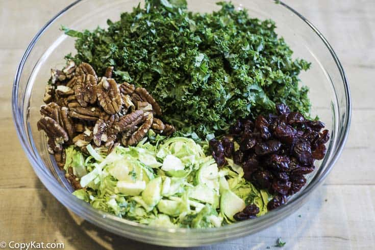 chopped pecans, craisins, kale, brussel sprouts in a bowl