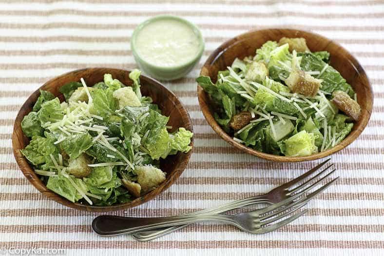 two bowls of homemade caesar salad