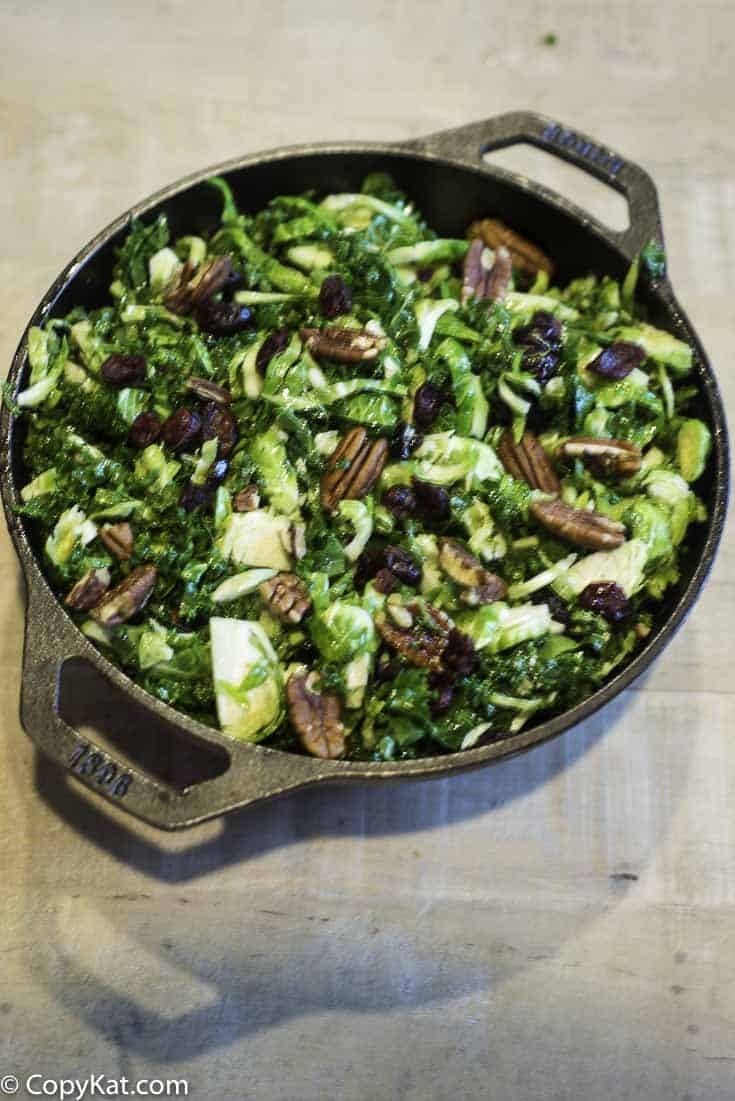 Homemade Cracker Barrel Brussels Sprouts and Kale Salad in a serving dish.