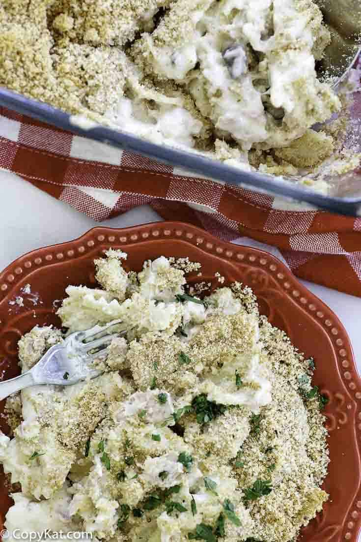 creamy tuna noodle casserole with bread crumb topping