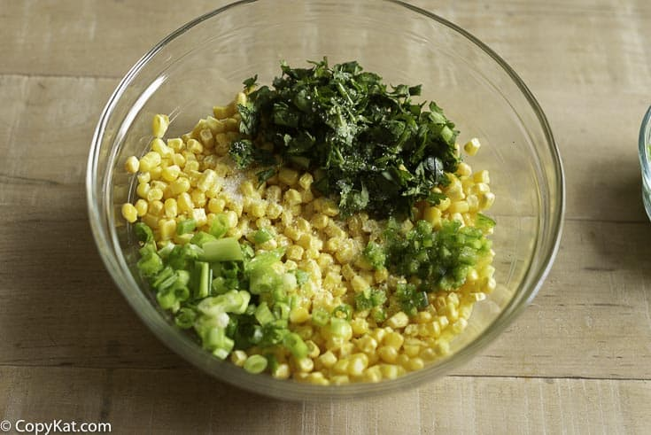 corn salsa ingredients in a bowl