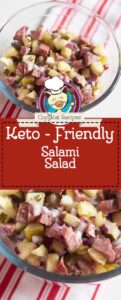 salami salad made with pickles, onions, and hard salami