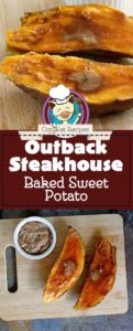 Collage of homemade copycat Outback Steakhouse baked sweet potato photos.