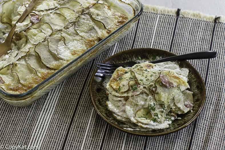 homemade scalloped potatoes and ham