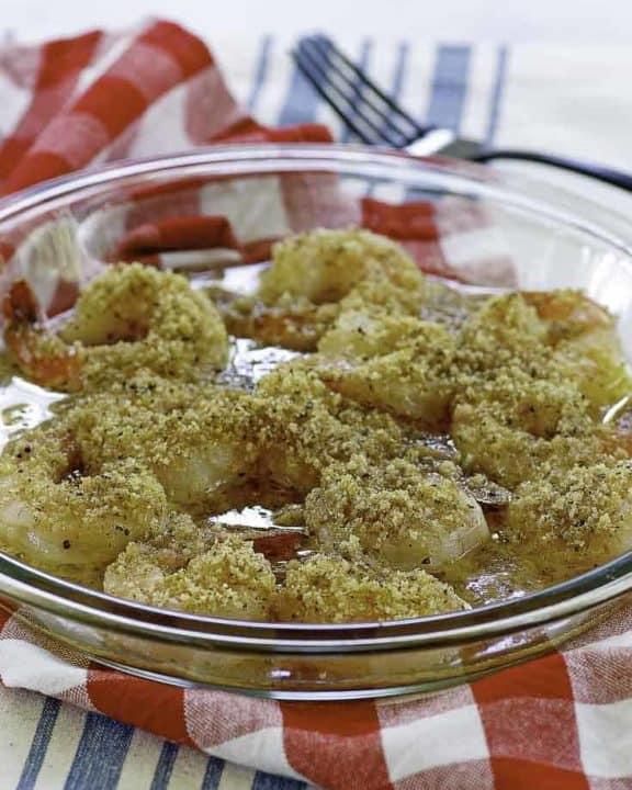 shrimp scampi in a serving dish