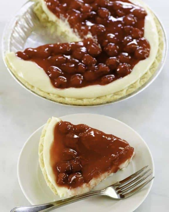 a slice of cherry-o-cheese pie