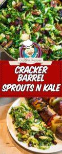 Collage of homemade cracker barrel sprouts n kale salad photos