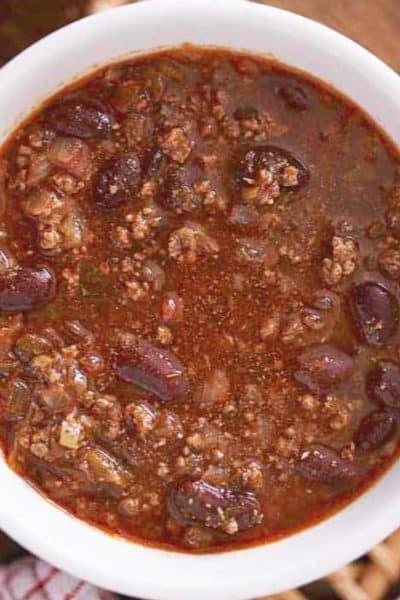 Bowl of homemade Steak and Shake chili