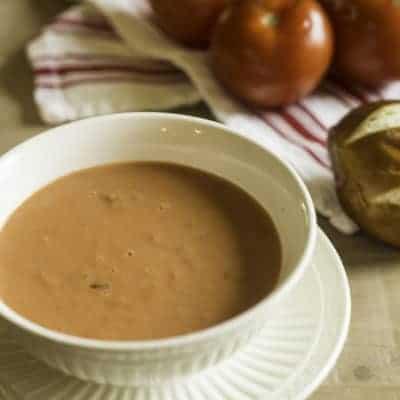 a bowl of tomato basil soup