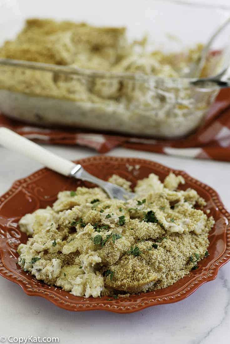 creamy tuna noodle casserole on a plate