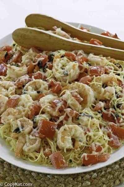 olive garden shrimp caprese pasta dinner