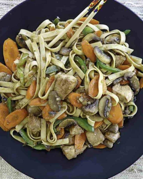 Chicken Lo Mein on a plate