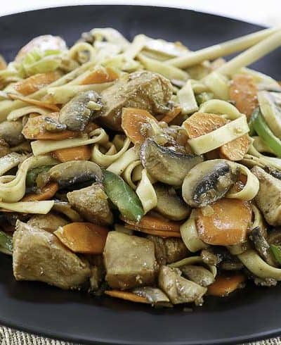 homemade chicken stir fry with noodles